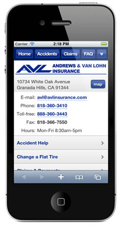 m.avlinsurance.com website preview